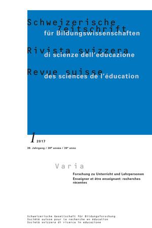 View Vol. 39 No. 1 (2017): VARIA: Forschung zu Unterricht und Lehrpersonen