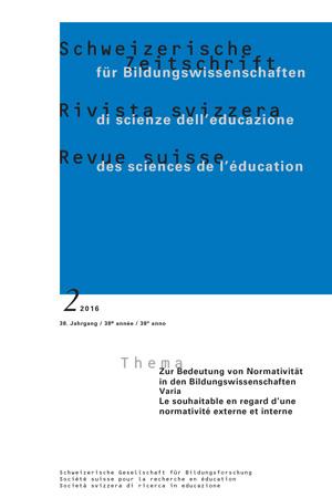 View Vol. 38 No. 2 (2016): VARIA: Zur Bedeutung von Normativität in den Bildungswissenschaften