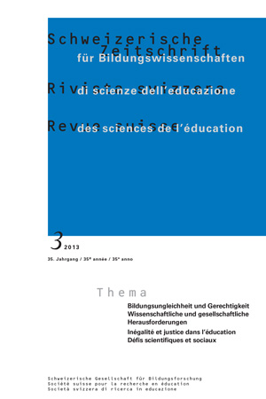 View Vol. 35 No. 3 (2013): Bildungsungleichheit und Gerechtigkeit – Wissenschaftliche und gesellschaftliche Herausforderungen